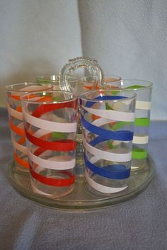 Swanky Swig Spiral Striped Juice Glasses