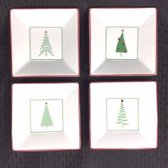 Set of 4 Crate + Barrel appetizer plates. Christmas Tree theme.
