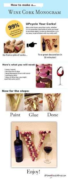 How to Make a Wine Cork Monogram. I just might do this (I have saved up the corks!)