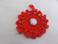 Christmas Ornament Crochet Red  Snowflake adornment by toppytoppy