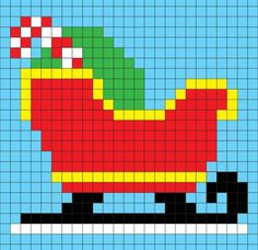 Crochet Sleigh Pixel Square - Repeat Crafter Me
