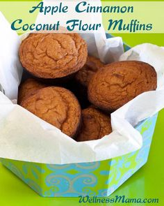 These apple cinnamon coconut flour muffins are a simple one-pan muffin recipe with coconut flour, eggs, coconut oil, applesauce, baking soda and optional sweetener.