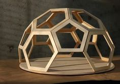A geodesic modular bulletin board / whiteboard designed by Robin Stethem for a group project in STETHEM.COM This assists in selecting the cut that needs to be inflected upon the wood and choosing the established of the joints.