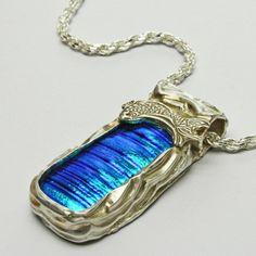 Blue Dichroic Fine Silver Pendant Diamond Cut Sterling Chain Handmade  | ShanghaiTai - by Roxanne Coffelt.  (SOLD)