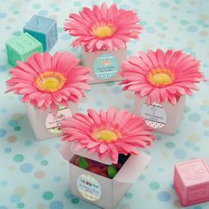 Design Your Own Collection Classy Pink Gerbera Daisy Adorned Box Favors