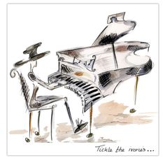 Music Birthday cards. 'Tickle The Ivories' http://www.clairelouise.eu/greetings-cards/the-sound-of-music.html
