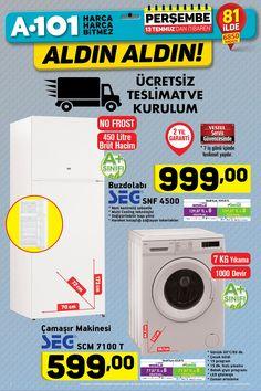 13 Temmuz 2017 A101 bu perşembeden itibaren A101 SEG No Frost Buzdolabı ve SEG Çamaşır Makinesi raflardaki yerini almak üzere a101 fırsat ürünleri kataloğu ve TV de reklamları dönmeye başladı bizde bu ürünleri sizler için inceledik. SEG SNF 4500 No Frost Buzdolabı 999 TL fiyat ile piyasadaki...