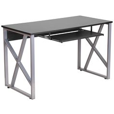 Flash Furniture Computer Desk with Pull-Out Keyboard Tray, Black. Clearance from Keyboard Tray to Desk Surface. Metal Computer Desk, Desk With Keyboard Tray, Small Computer, Office Computer Desk, Metal Desks, Office Desks, Work Desk, Black Wood, Wood And Metal