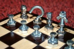 7 different DIY Chess Set Figures made out of hardware!