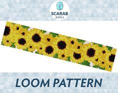 Sunflowers Garland Floral Pattern Loom Bead by ScarabJewels