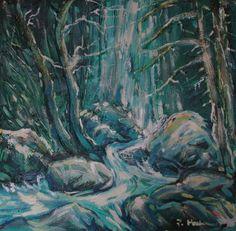 Vodopád, olej na plátne 40 x 40 cm, Pavel Huszár, Banská Bystrica, Slovakia