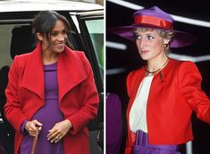 A nod to Princess Diana? Some of the supporters of this page mentioned Meghan wore what Princess Diana wore the same colors; red and… Harry And Meghan News, Kate And Meghan, Meghan Markle, Princess Meghan, Princesa Diana, Plus Size Fashion For Women, Royal Fashion, Fashion Books, Duke And Duchess
