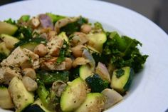 Kale and Zucchini stir fry. If we switch out the tofu for chicken and the either leave out the beans or swap them for nuts it looks GAPS friendly!