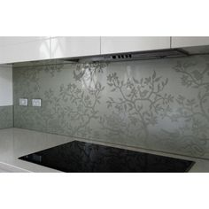 Image detail for -sandblasted glass splashback Kitchen Splashback Designs, Kitchen Design, Splashback Ideas, Kitchen Backsplash, Interior Exterior, Kitchen Interior, Printed Glass Splashbacks, Sandblasted Glass, Kitchen Benches