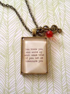 Bruno Mars  Treasure song quote necklace. Love by KitschyKooDesign, $20.00