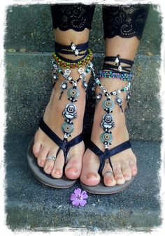 Yogi BUDDHA BAREFOOT sandals Black crochet Gypsy Sandals Ankle