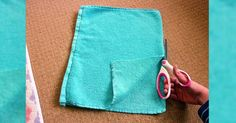 Sie schneidet in einige alte Handtücher. Als ich das Resultat sah, wollte ich es auch gerne selbst machen! - DIY Bastelideen