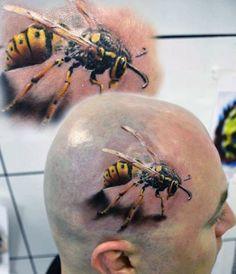 tatuaże na głowie osa 3d