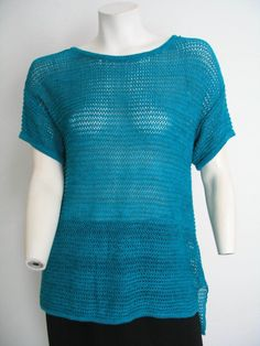 TWO by VINCE CAMUTO Blue Knit Sweater Pullover Short Sleeves Hi-Low Cotton L? #VinceCamuto #PulloverSweater