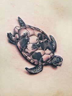 Sea turtle tattoo by Jen Lodi, CA Aztec Tribal Tattoos, Tribal Shoulder Tattoos, Mens Shoulder Tattoo, Half Sleeve Tattoos Ocean, Ocean Tattoos, Shellback Tattoo, Turtle Tattoo Designs, Sea Turtle Tattoos, Mushroom Tattoos