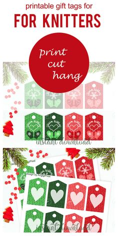 #Printable #X-mas #tags for knitted gifts  - #Warm #Wishes tag - #Christmas presents tags - #winter #mittens tags in #red #green - #editable - tags for winter gift - X-MAS PRINTABLES Printable Christmas red and green WARM WISHES tag for winter gifts, especially designed for hand made gifts.
