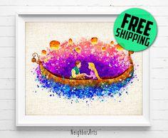 FREE SHIPPING- Disney, Princess art print, Rapunzel, Tangled Lantern, poster, watercolor, painting, wall art, nursery gift, home decor 511 by NeighborArts on Etsy https://www.etsy.com/uk/listing/476153684/free-shipping-disney-princess-art-print