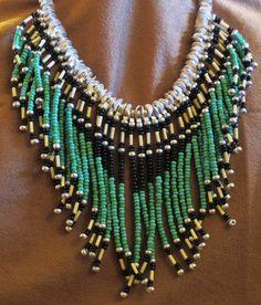 Fringe Necklace, Leather Necklace, Leather Jewelry, Beaded Chocker, Beaded Jewelry, Choker, Native American Fashion, Native American Jewelry, Safety Pin Art