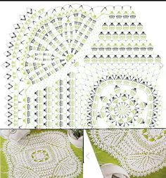 Crochet Squares, Crochet Doilies, Tablecloths, Crocheting, Mary, Design, Crochet Table Runner, Colors, Diagram