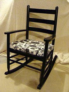 black rocking chair with custom cushion