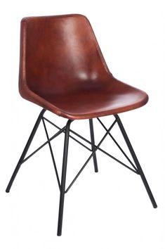 stuhl im industrial stil aus leder braun stuhl braun. Black Bedroom Furniture Sets. Home Design Ideas