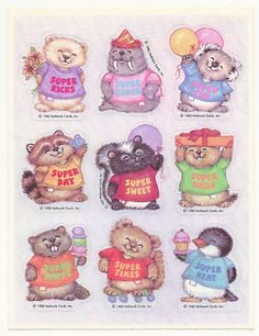 Critter Sitter / Shirt Tales by Hallmark. I super loved these! I was obsessed with stickers. Me n my best friend would trade stickers for hours 1980s Childhood, My Childhood Memories, Sweet Memories, Critter Sitters, Love Stickers, 80s Kids, My Memory, Fancy, Retro