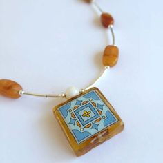 Spanish Tile Necklace with Stone and Silver Beads - Handmade