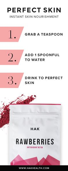 Discover Perfect Skin with Rawberries | Click through to learn more about how you can add nutrition to your water to improve your skin >>> www.hakhealth.com | @HAK