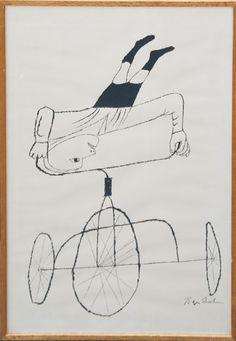 ベン・シャーン版画額「自転車」 Ben Shahn 1968年/シルクスクリーン 版上サイン 裏面に南天子画廊シール付 90.5×61.5 額面93×64