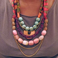Multi-Colored Mixed-Media Statement Necklace | Lovely Clusters - Gallery