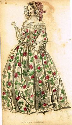 """Lady's Cabinet Fashion Plate - """"DINNER DRESS (FLORAL)"""" - Hand-Colored Engraving - 1840"""