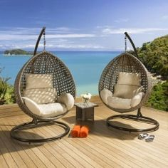 45 best Garden   Beautiful Hanging Chairs  Sunbeds  Daybeds     Quatropi Outdoor Garden Hanging Chair Set Mocha Rattan   Beige Cushion