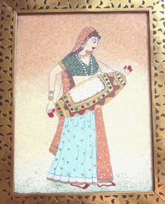 Vintage Trinket / Jewelry / Box, Wood Brass, Hand Painted Art