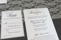 Vintage Invitation Glam Wedding Vintage Glam Silver by LamaWorks