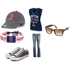 Red Sox outfit! Change to shoes to red saucony tennis shoes, add jersey, change the sunglasses to Oakley thats what I where on game day! Go Red Sox!!!