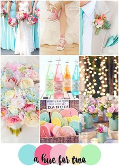 Pink and Pastel Unique Wedding Colour Scheme - Pink, Aqua, Yellow, Green - Pastel Wedding - Summer Wedding - A Hue For Two | www.ahuefortwo.com