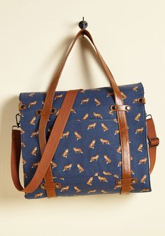 Camp Director Tote in Foxes - Blue, Print with Animals, Buckles, Studs, Urban, Travel, Darling, Critters, Faux Leather, Woven, Brown, Top Rated