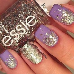 Gold and purple nails
