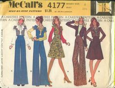 McCall's 4177 Misses' Unlined Jacket, Skirt, and Pant's Vintage Retro Pattern, Vintage Sewing Patterns, Sew Pattern, Vintage Outfits, Vintage Fashion, Vintage Clothing, Mod Jacket, Pants Pattern, Vintage Handbags
