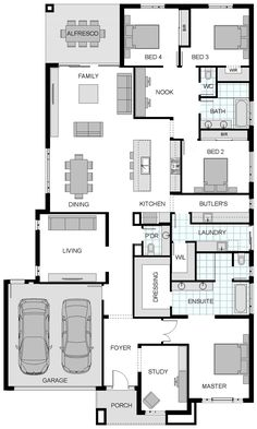 Highbury floorplan by jg king homes. i like the smaller, structured living room. good for tv/video games. family room for social stuff. New House Plans, Dream House Plans, House Floor Plans, The Plan, How To Plan, Home Design Plans, Plan Design, Kings Home, House Blueprints