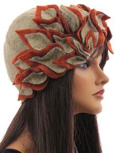 Cute artsy hat cap hat boiled wool in beige rust with leaves - Artikeldetailansicht - CLASSYDRESS Lagenlook Art to Wear Women's Clothing