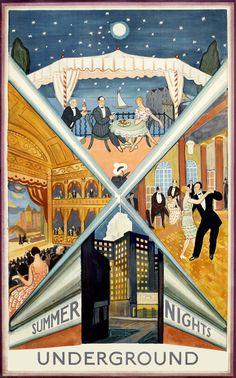 London Underground Summer Nights 1930 repro vintage travel poster | eBay