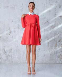 Платье «Берта» мини красное, с отстегивающимся воротником, Цена— 19990 рублей