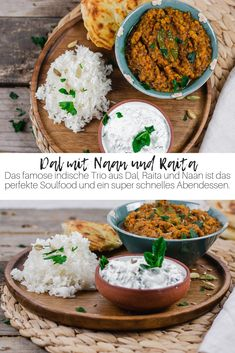 Dal with Naan and Raita - The Indian national dish Dal is the perfect soul food and a super fast dinner. With cucumber raita - Healthy Eating Tips, Healthy Meals, Healthy Dinner Recipes, Vegetarian Recipes, Greek Recipes, Indian Food Recipes, Italian Recipes, Ethnic Recipes, Naan