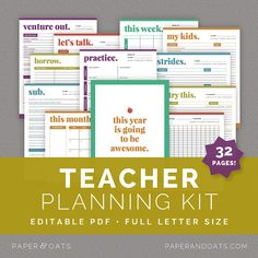 Teacher Planning Kit – Editable, Classroom Planner, Teacher's Binder, Classroom Organization, 32 Pages  //  Household PDF Printables